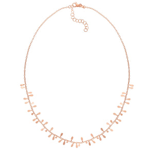 14kt Gold 18 inches Rose Finish 6x2mm(CE),1.5mm(Ch) Polished 1.5 inches Extender Petal Necklace with Lobster Clasp