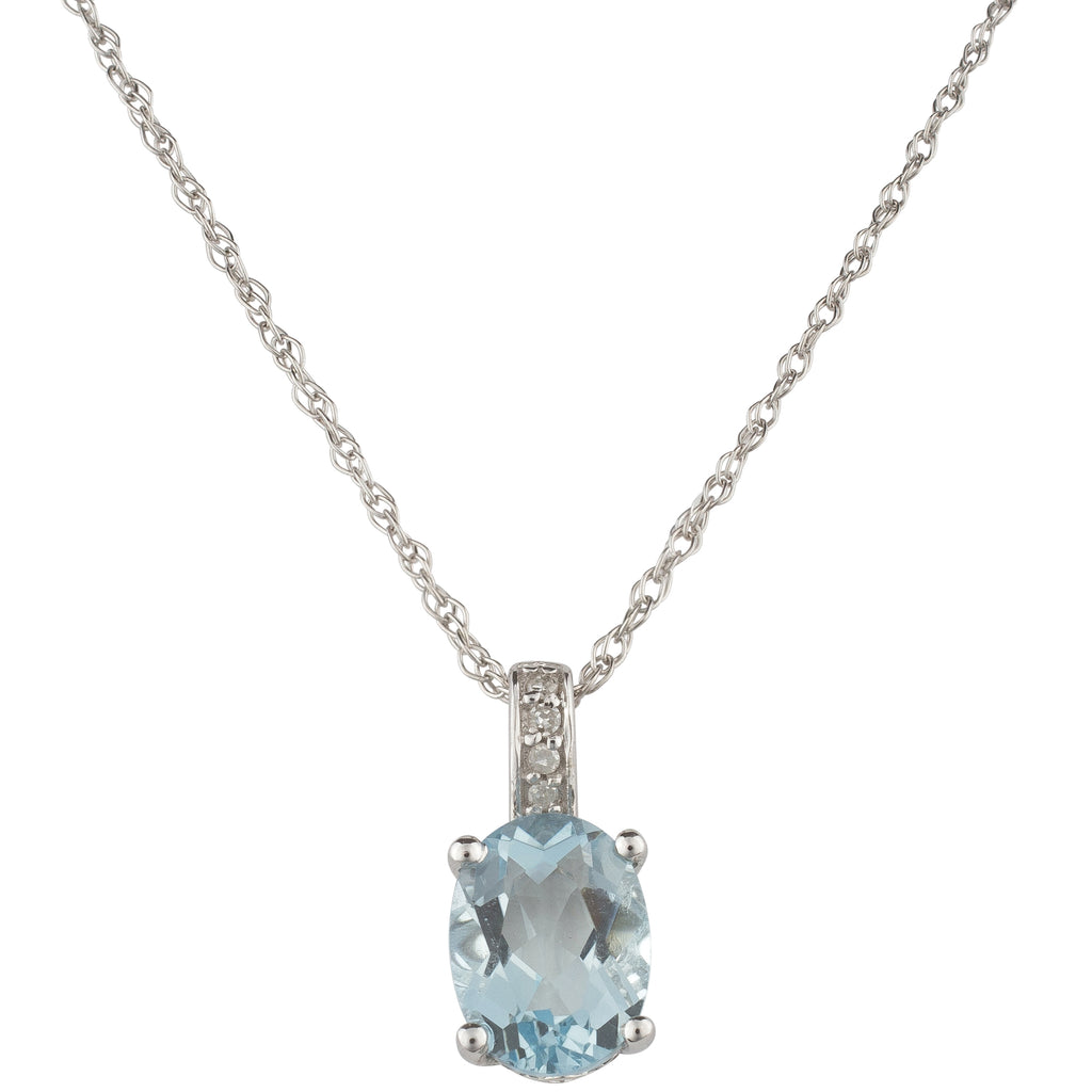 14K White Gold Oval 1-1/10CT Oval Aquamarine and Round Diamond Pendant