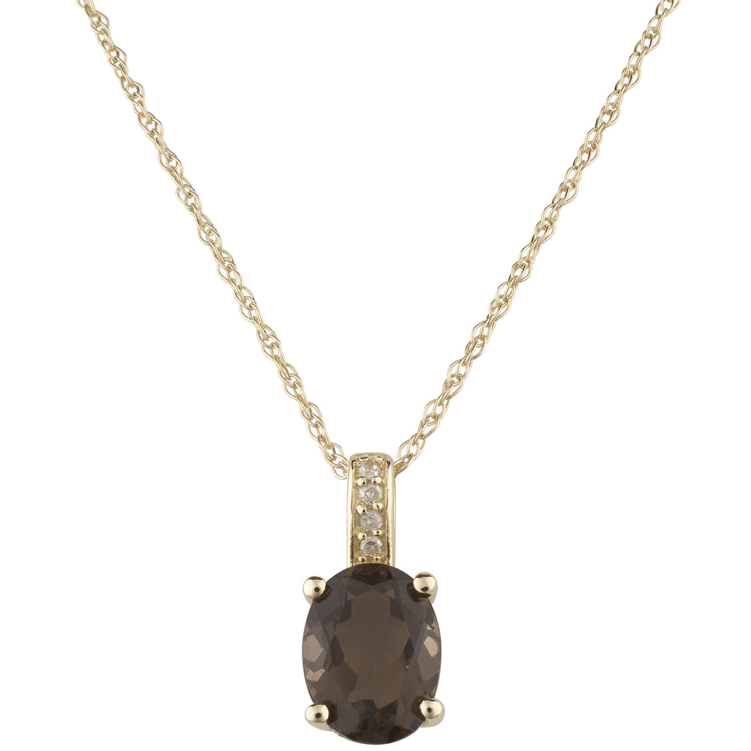 14K YELLOW GOLD DIAMOND AND SMOKY QUARTZ PENDANT WITH CHAIN