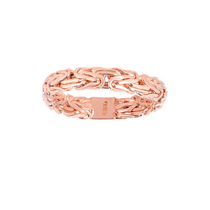 14kt Rose Gold 4.1mm Shiny Byzantine Band Type Size 07 Ring