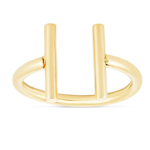 14kt Yellow Gold Shiny Fancy Open Ring with Barends