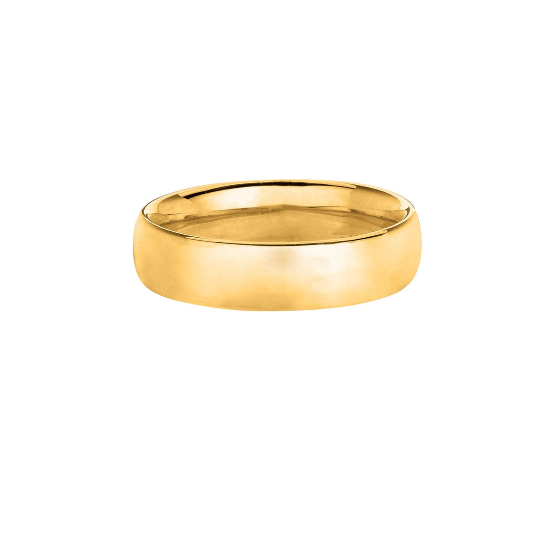 14kt Size-7 Yellow Gold 6mm Shiny Wedding Band