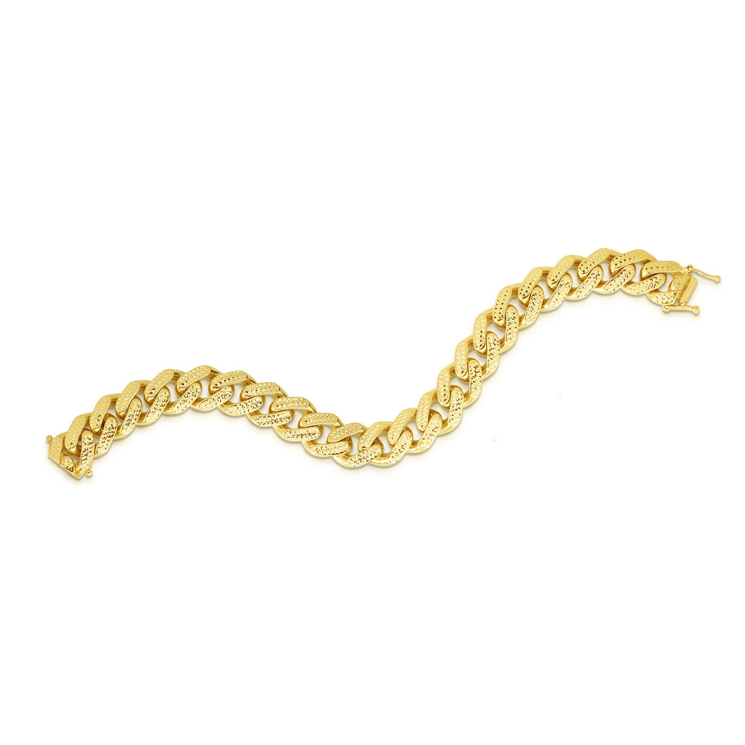 14kt Gold 8.25 inches Yellow Finish 13.5mm Yellow Pave Curb Link Bracelet with Box with Both Side Push Clasp