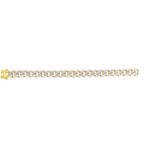 14kt Gold 8.5 inches Yellow Finish 13.5mm White Pave Curb Link Bracelet with Box with Both Side Push Clasp