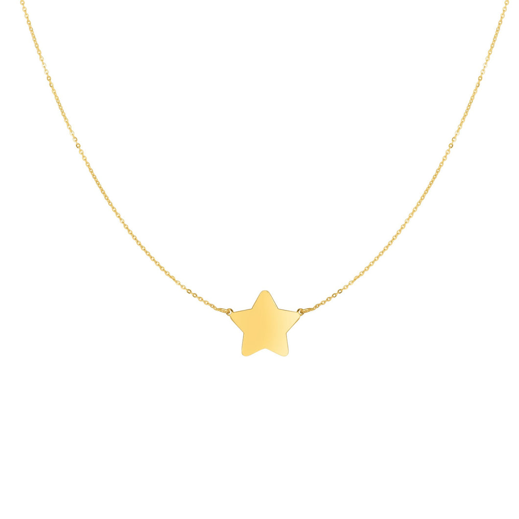 14kt Gold 18 inches Yellow Finish 1x11x13mm Shiny Flat Extendable Star Length Necklace with Spring Ring Clasp