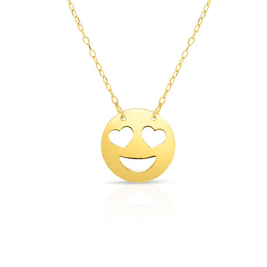 14K Gold Heart Eyes Emoji Necklace