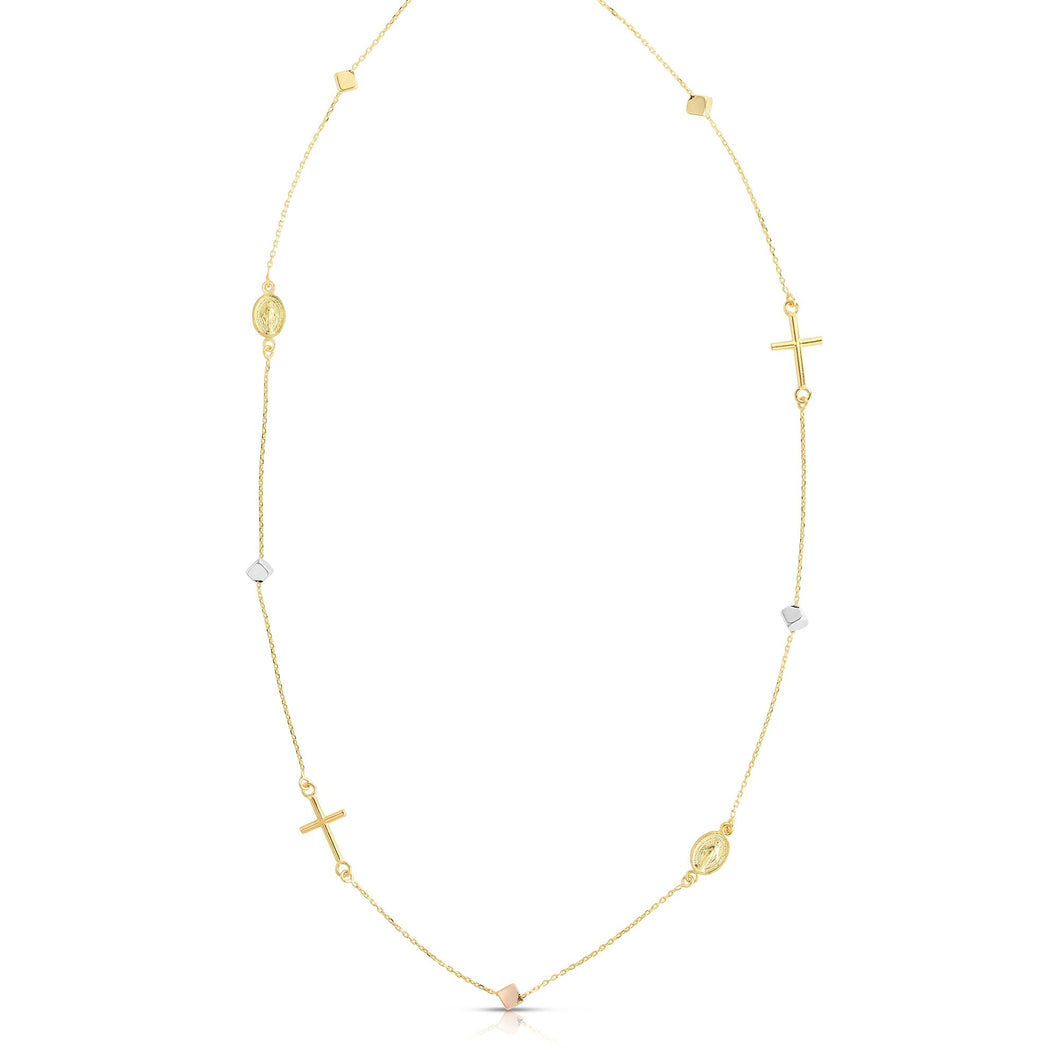 14kt Gold 18 inches Rose+Yellow+White Finish Necklace