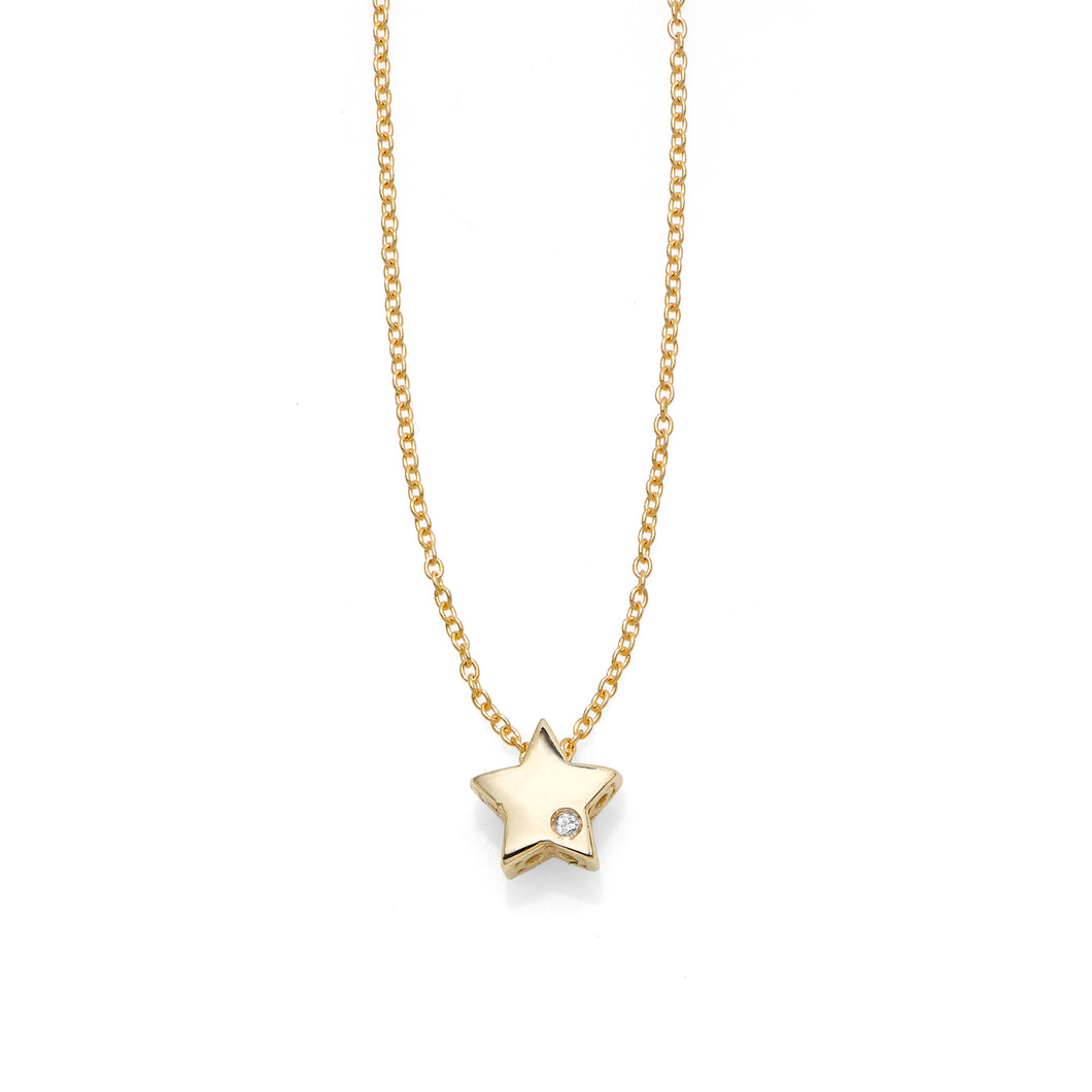 14kt Gold 18 inches Yellow Finish 6.5mm(CE),0.8mm(Ch) Polished 2 inches Extender Star Necklace with Lobster Clasp with 0.0050ct 1mm White Diamond