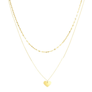 14kt Gold 18 inches Yellow Finish 9.5x12mm(CE),75mm(Drape),2mm(Ch) Polished Heart 2 inches Extender Double Strand Necklace with Lobster Clasp