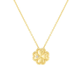 14kt Gold 18 inches Yellow Finish 9mm(CE),0.8mm(Ch) Polished with 2 inches Extender Clover Necklace with Lobster Clasp with 0.0100ct 1.3mm White Diamond