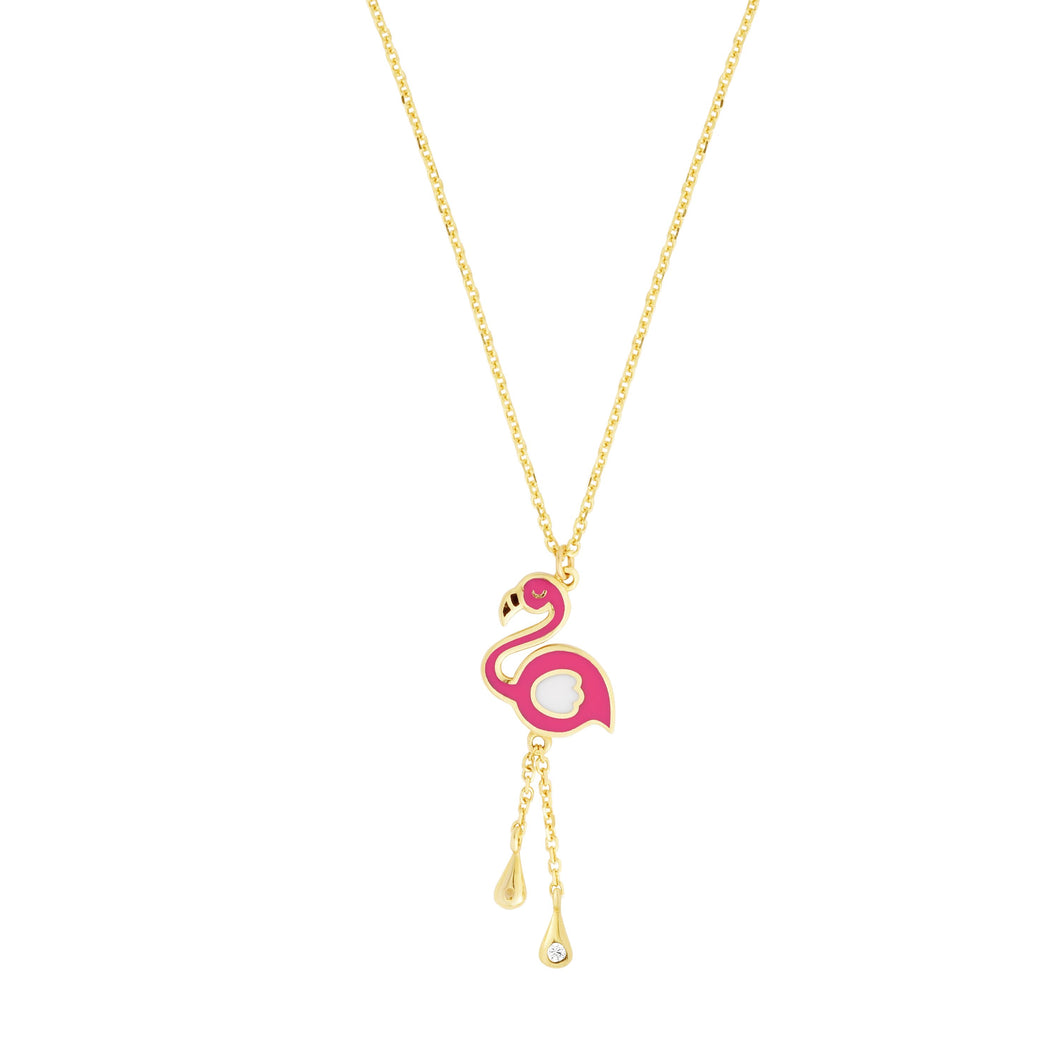14kt Gold 14 inches Yellow Finish 29x10mm(CE),1mm(Ch) Diamond Cut Flamingo Necklace with Spring Ring Clasp
