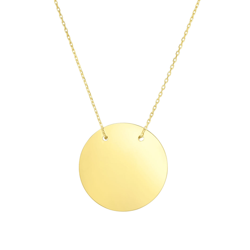 14kt Gold 18 inches Yellow Finish Center with Extender Disc Necklace with Lobster Clasp
