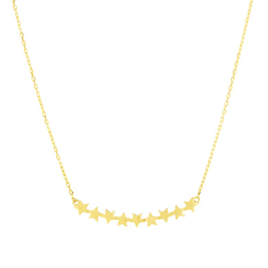 14kt Gold 18 inches Yellow Finish with Extender Center Heart Cluster Necklace with Lobster Clasp