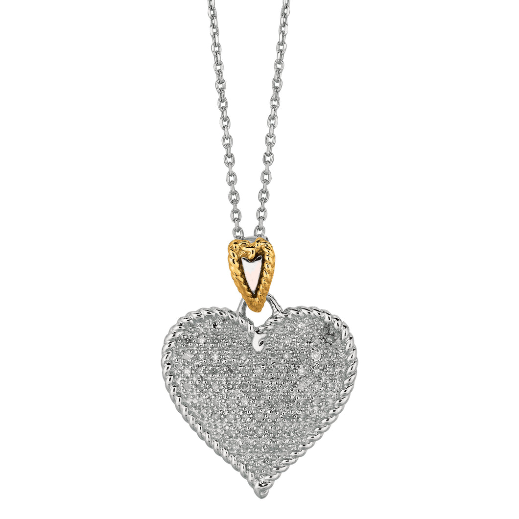 14K Gold & Diamond Heart Pendant Necklace