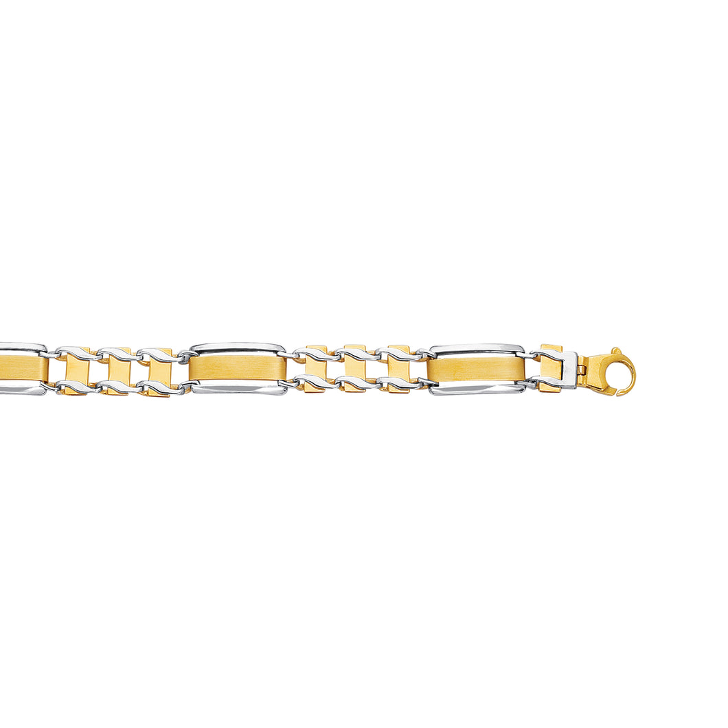 14kt Yellow+White Gold 8.50 inches Shiny Railroad Type Men inchess Rolex Bracelet with Fancy Lobster Clasp