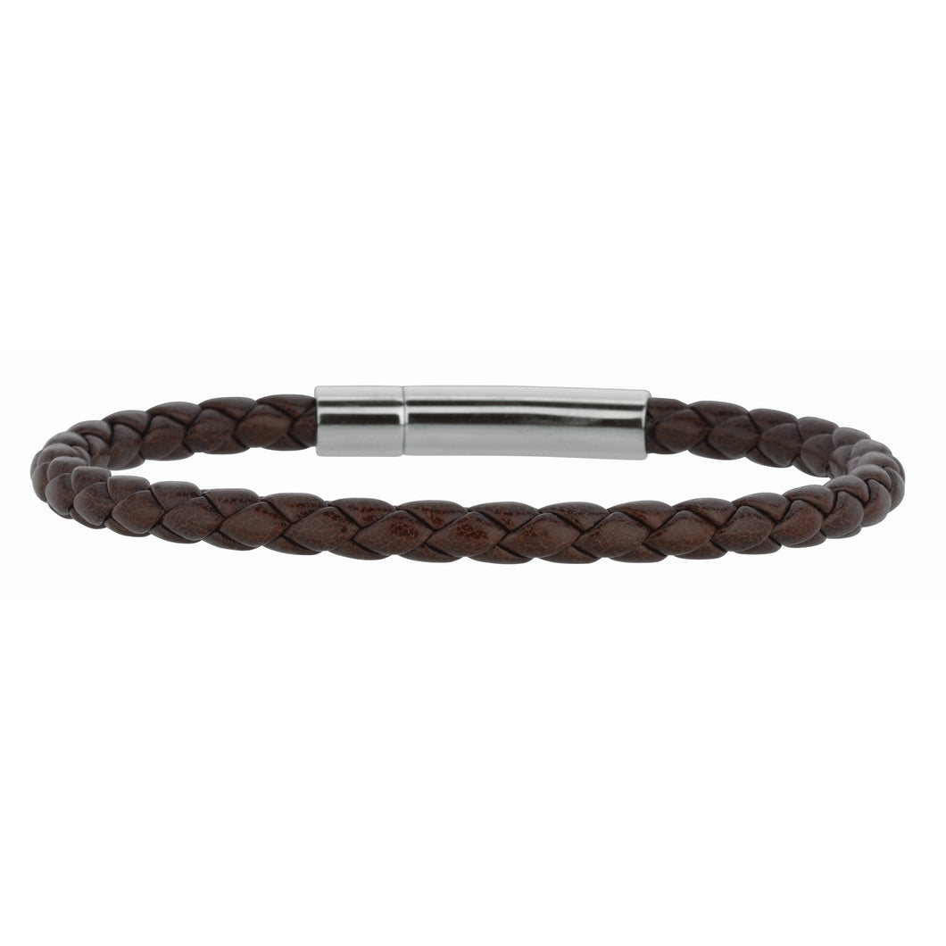 Brown Weaved Leather & Stainless Steel Bracelet