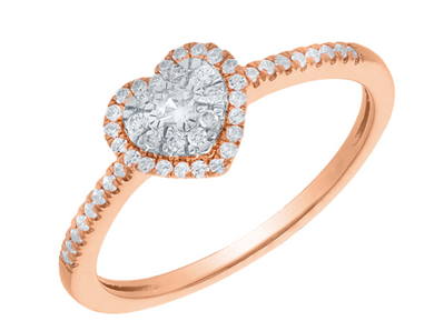 10K Rose Gold Round Diamond 1/5CT Halo Heart Ring