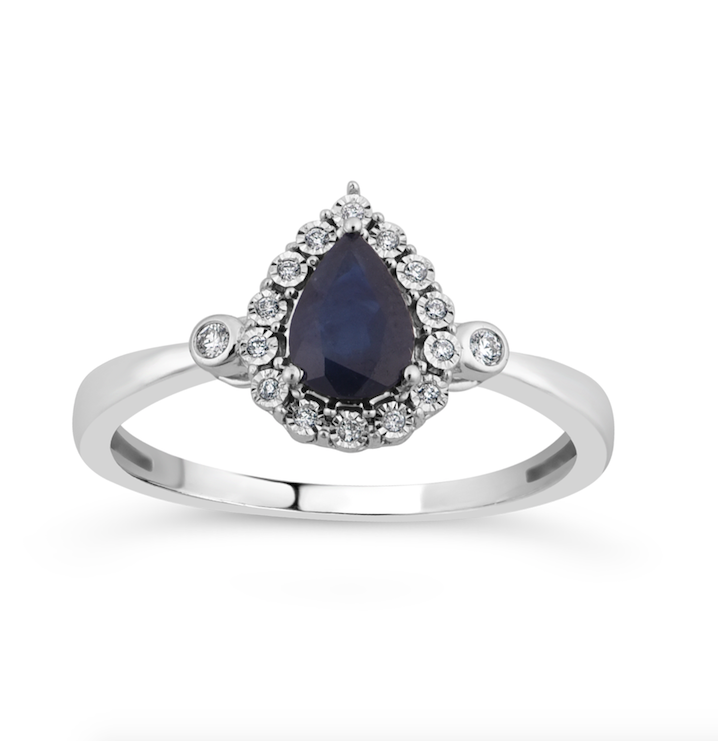 10K White Gold Pear Shape Sapphire & Round Diamond Halo Ring