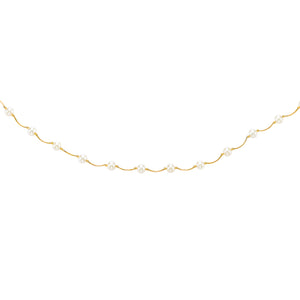 14kt 17 inches Yellow Gold 6-6.5mm White Pearl Tin Cup Necklace with Spring Ring Clasp