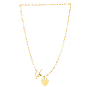 14K Yellow Gold Heart & Toggle Lock Bracelet