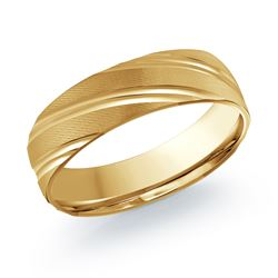 14K Yellow Gold Swirl Engraved Band