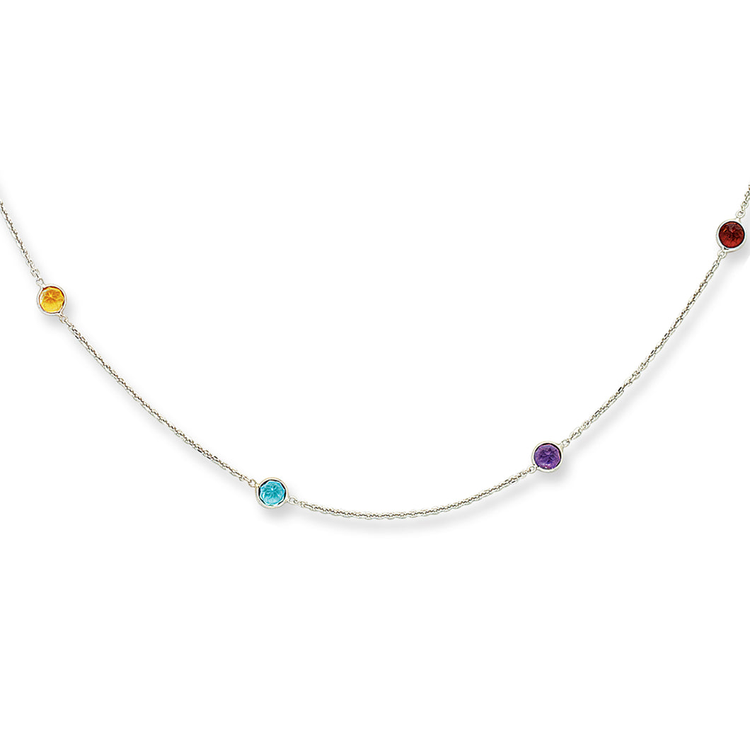 14kt 16 inches White Gold 8-Multi Colored Stone Stationed Cable Necklace with Lobster Clasp
