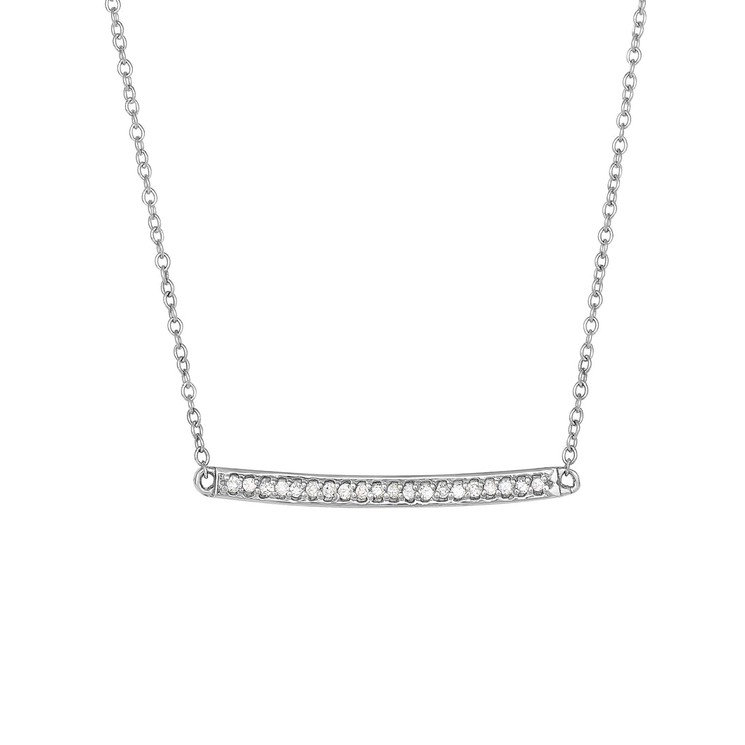 14K White Gold & Diamond Bar Necklace