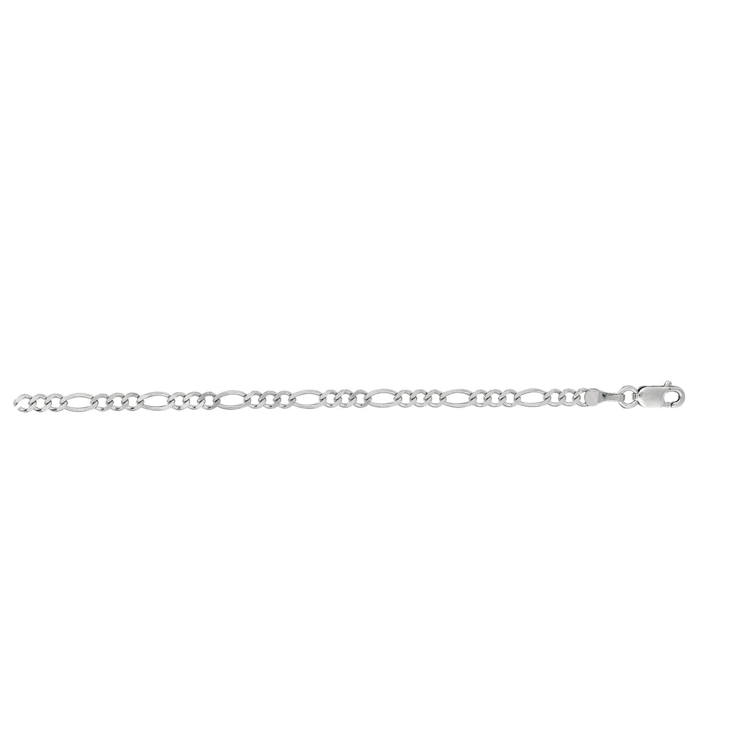 14kt 24 inches White Gold 2.6mm Diamond Cut Alternate 3+1 Classic Figaro Chain with Lobster Clasp