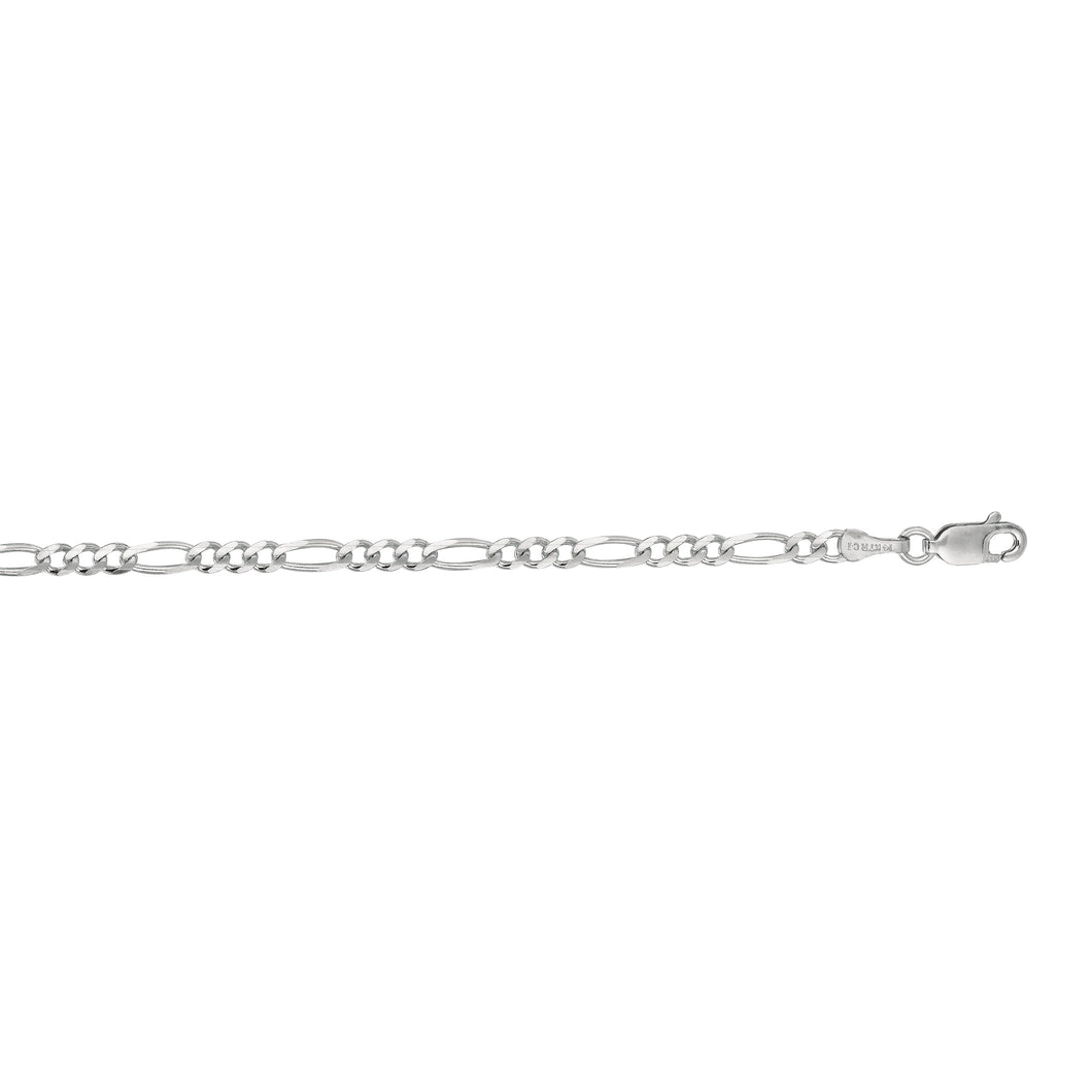 14kt 18 inches White Gold 3.0mm Diamond Cut Alternate 3+1 Classic Figaro Chain with Lobster Clasp