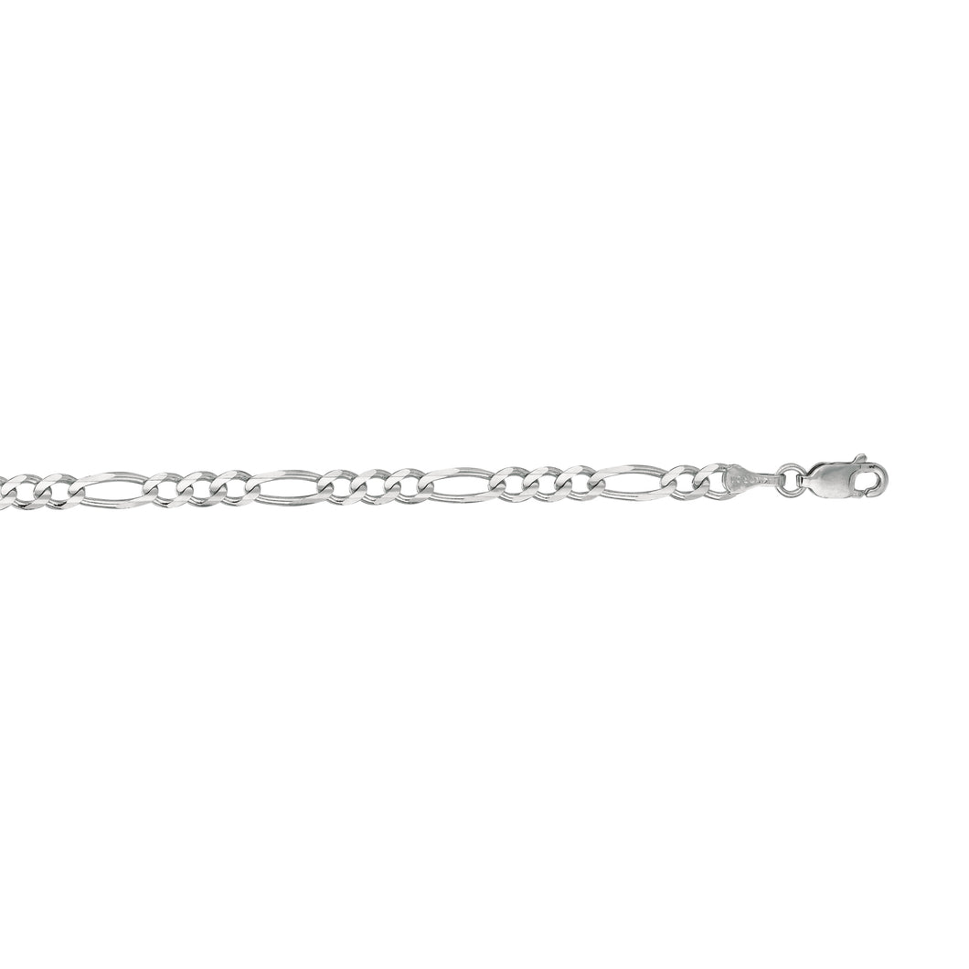 14kt 22 inches White Gold 3.8mm Diamond Cut Alternate 3+1 Classic Figaro Chain with Lobster Clasp