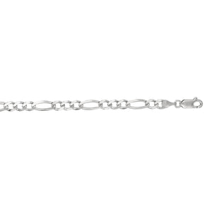 14kt 22 inches White Gold 4.6mm Diamond Cut Alternate 3+1 Classic Figaro Chain with Lobster Clasp