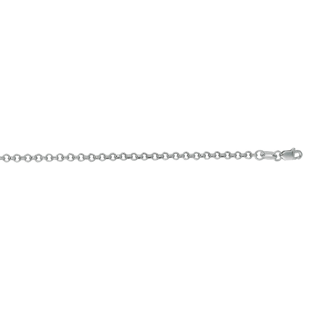 14kt 30 inches White Gold 2.3mm Diamond Cut Round Rolo Chain with Lobster Clasp