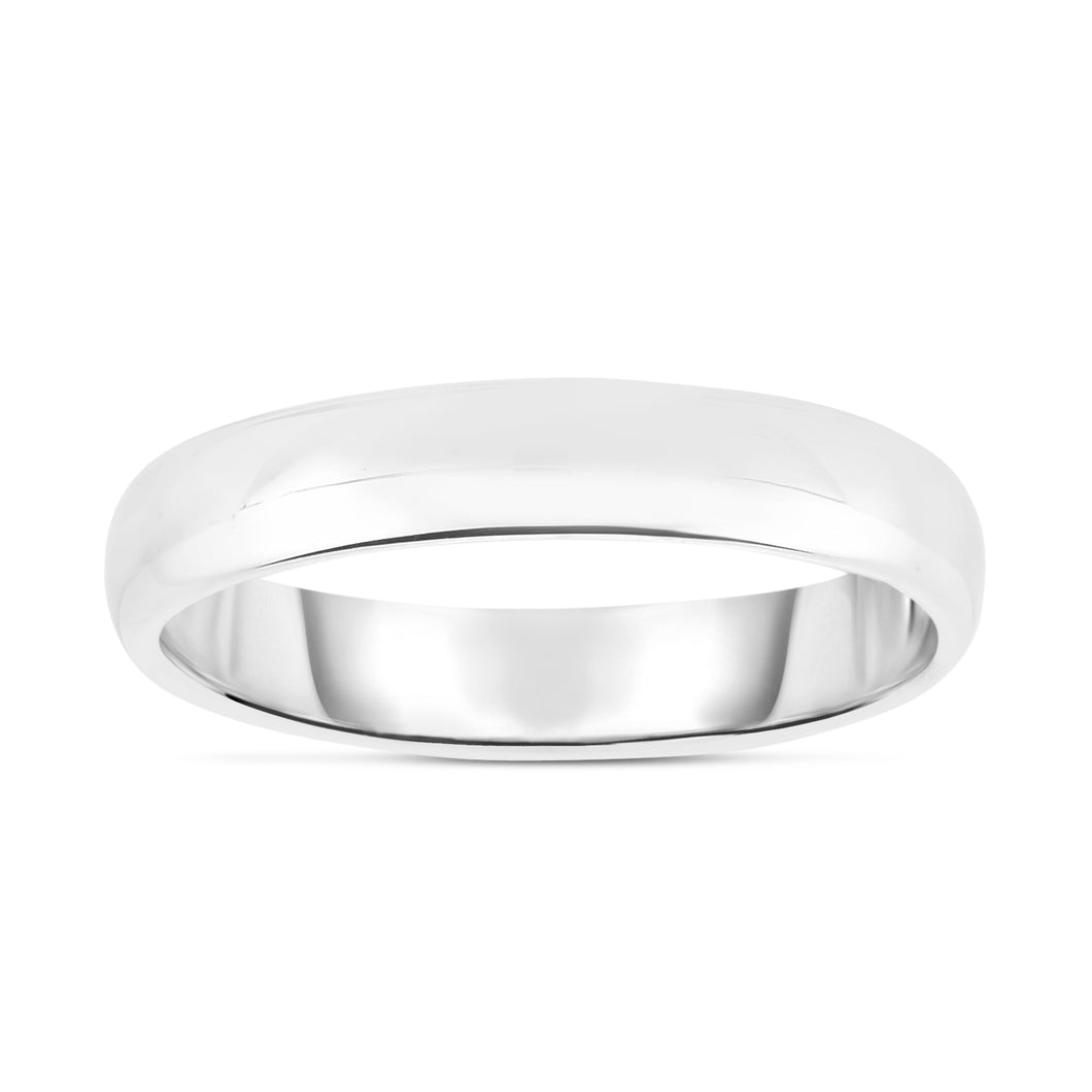 14K White Gold 4.0mm Wedding Band Ring