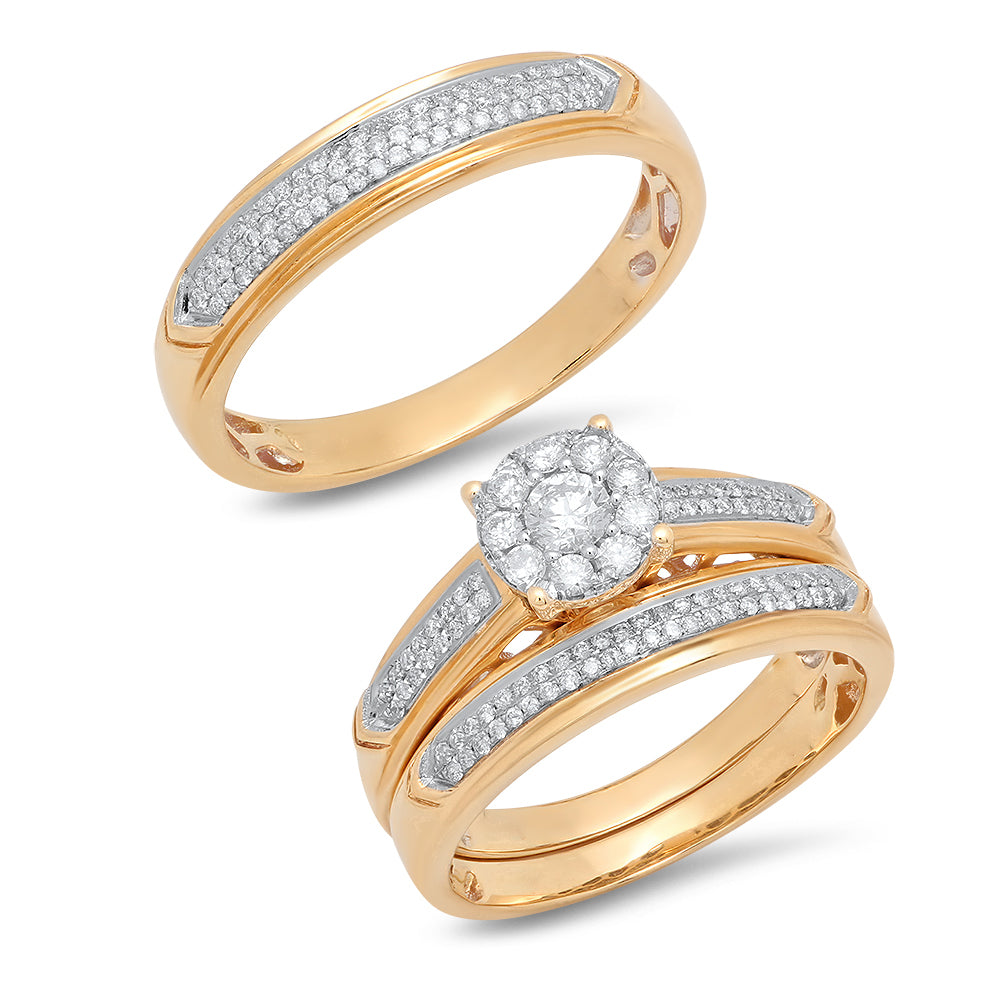 14K Yellow Gold Round Diamond 5/8CT Trio Wedding Set
