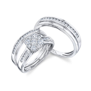 14K White Gold Round Diamond 7/8CT Cushion Illusion Trio Wedding Set