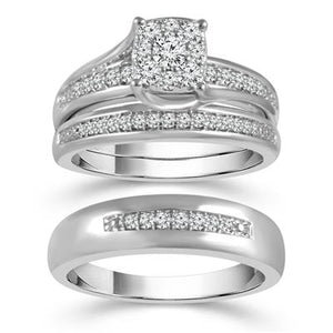 10K White Gold Round Diamond 3/8CT Trio Wedding Set