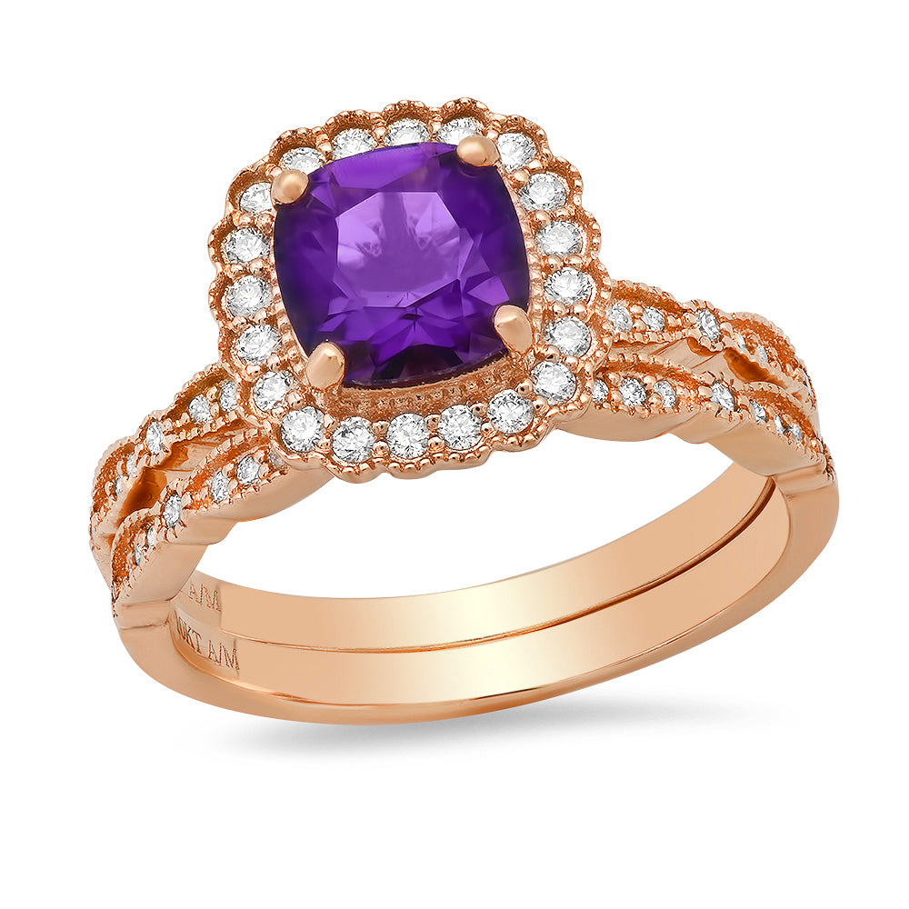 10K Rose Gold Cushion Amethyst & Round Diamond 3/8CT Halo Wedding Set