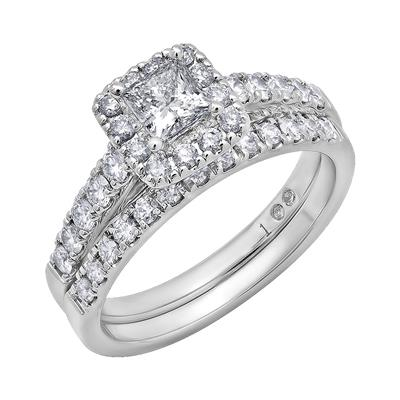 Cien Amore 14K White Gold Princess and Round Diamond 1 1/4CT Wedding Set