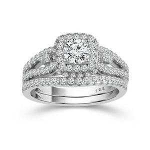 14K White Gold Round Diamond 1-1/4CT Halo Wedding Set
