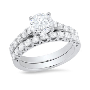 14K White Gold Round Cubic Zirconia & Round Diamond 1CT Wedding Set