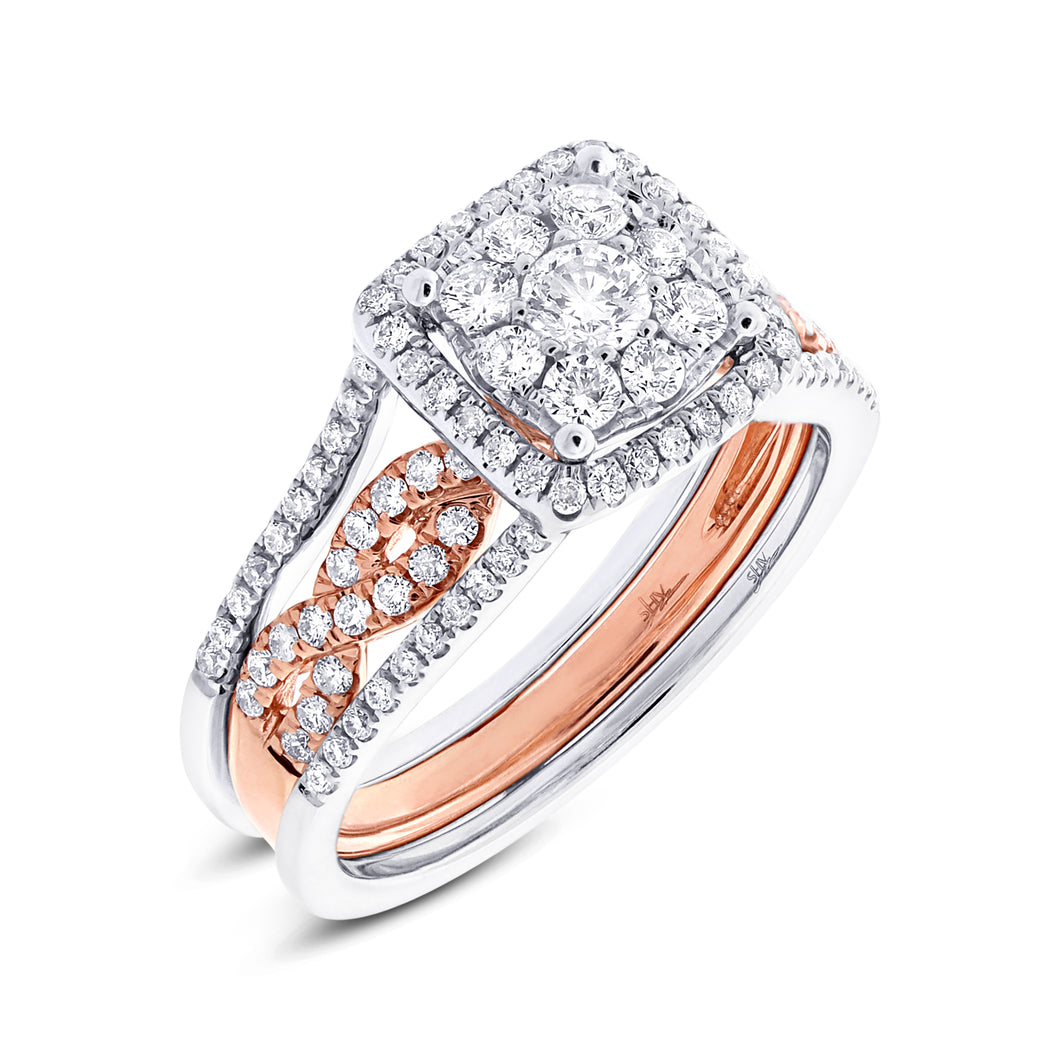 14K Two Tone Round Diamond 7/8CT Cushion Shape Halo Wedding Set