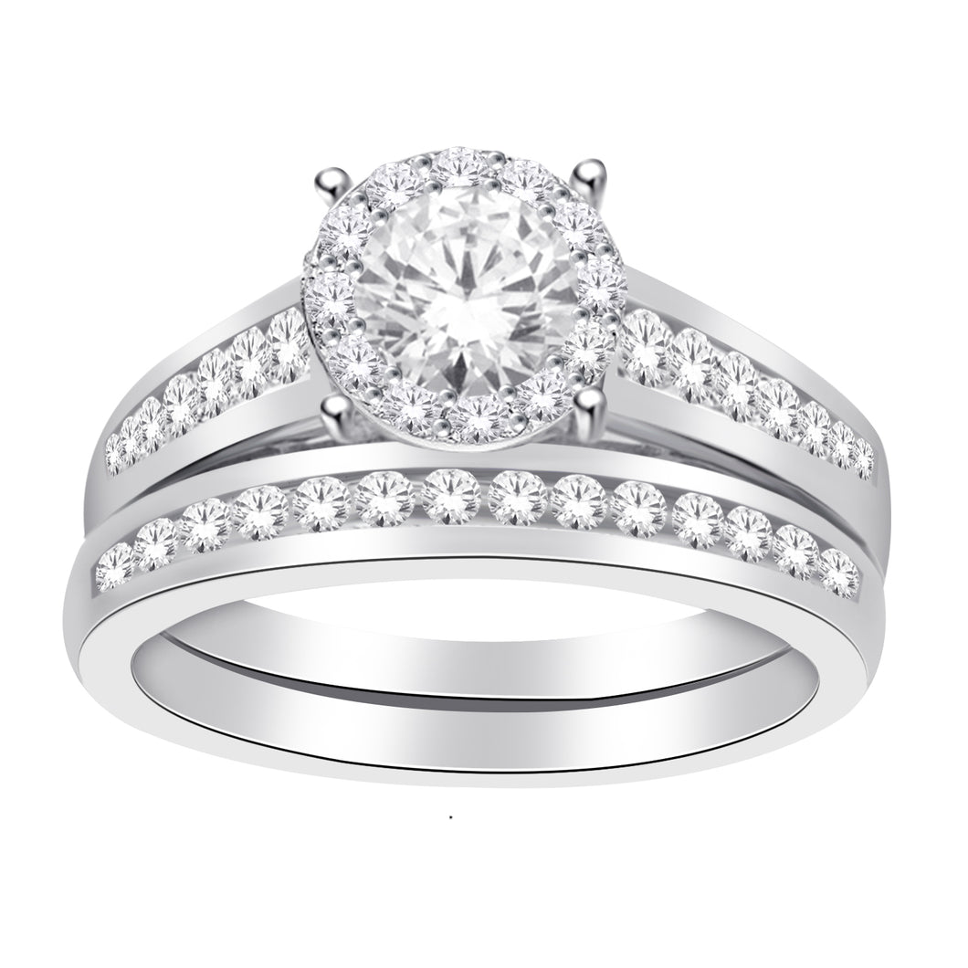 10K White Gold Round Diamond 1/2CT Prong & Channel Set Wedding Set