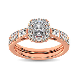 14K Rose Gold Pie Cut Cushion Center & Round and Baguette Diamond 1CT Halo Wedding Set