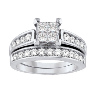 10K White Gold Quad Center & Round Diamond 2CT Wedding Set
