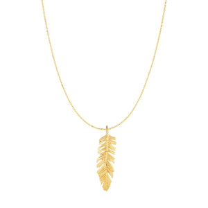 10kt Yellow Gold 8x35mm Textured Feather Pendant on 10kt Gold 18 inches Yellow Finish 0.8mm Classic Diamond Cut Classic Cable Chain with Lobster Clasp