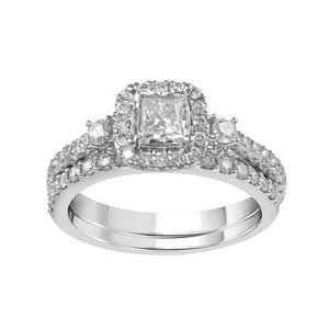 10K White Gold Princess Cut & Round Diamond 1CT Halo Wedding Set