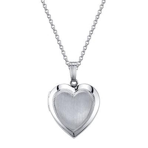 "Sterling Silver 15MM Heart Locket on 18"" Rolo Chain"