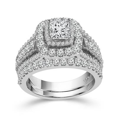 14K White Gold Princess Cut & Round Diamond 1-1/4CT Double Halo Wedding Set