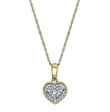 10K Yellow Gold Round Diamond 1/10CT Heart Cluster Pendant with Chain