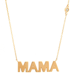 "14K Yellow Gold, ""MAMA"" Necklace with Single Diamond"